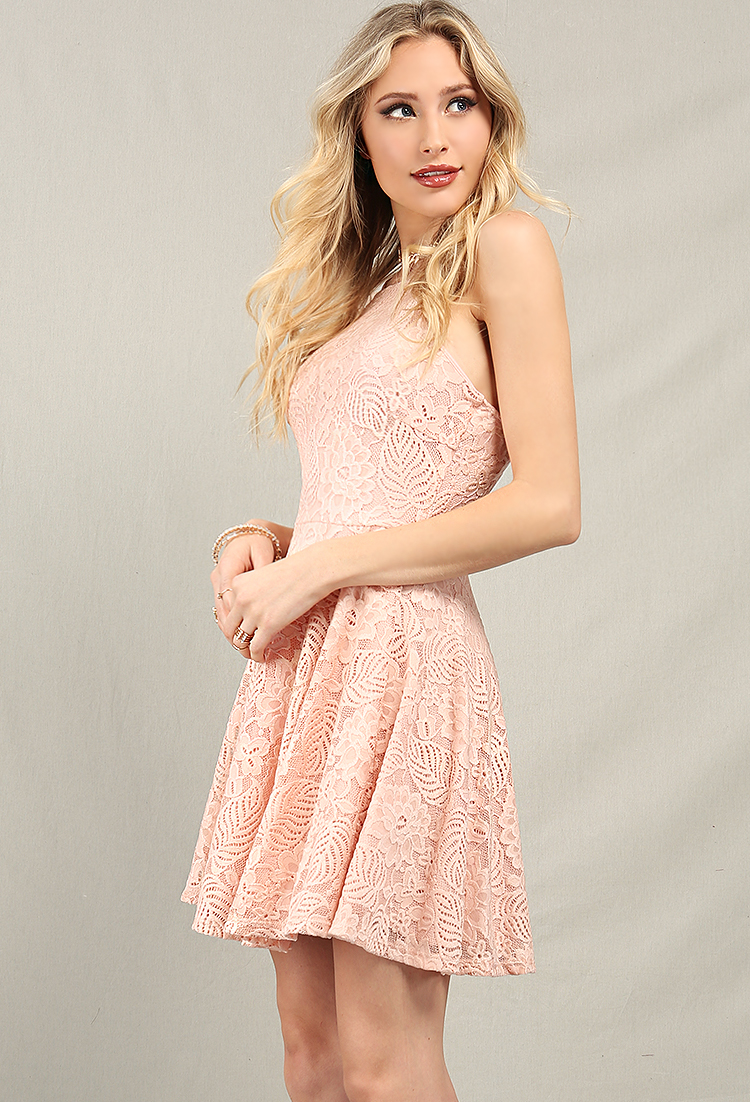 Floral Lace Overlay Skater Dress