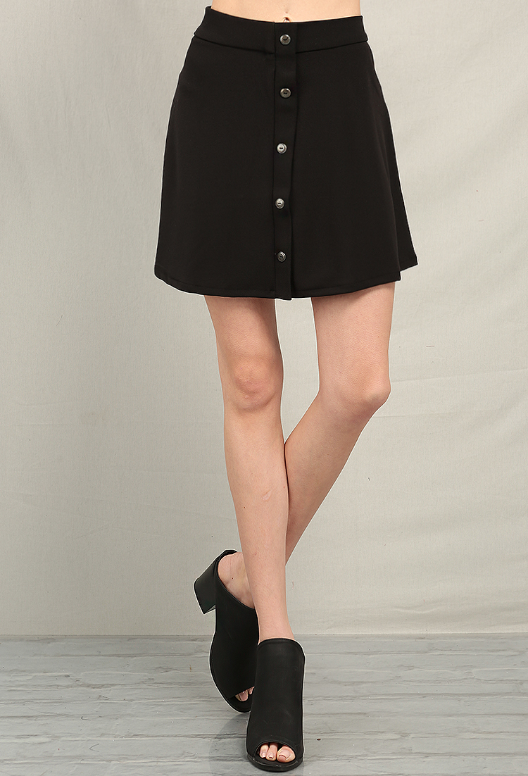 Front Button Detail Flare Mini Skirt