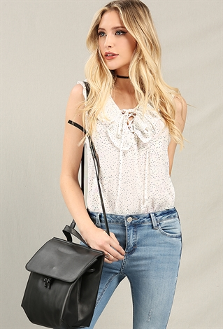 Dotted Ruffle Lace-Up Top