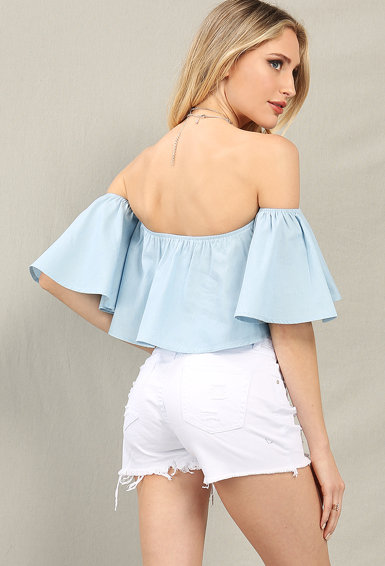 Chambray Off-The-Shoulder Crop Top