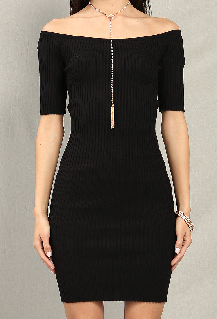 Ribbed Off-The-Shoulder Mini Dress