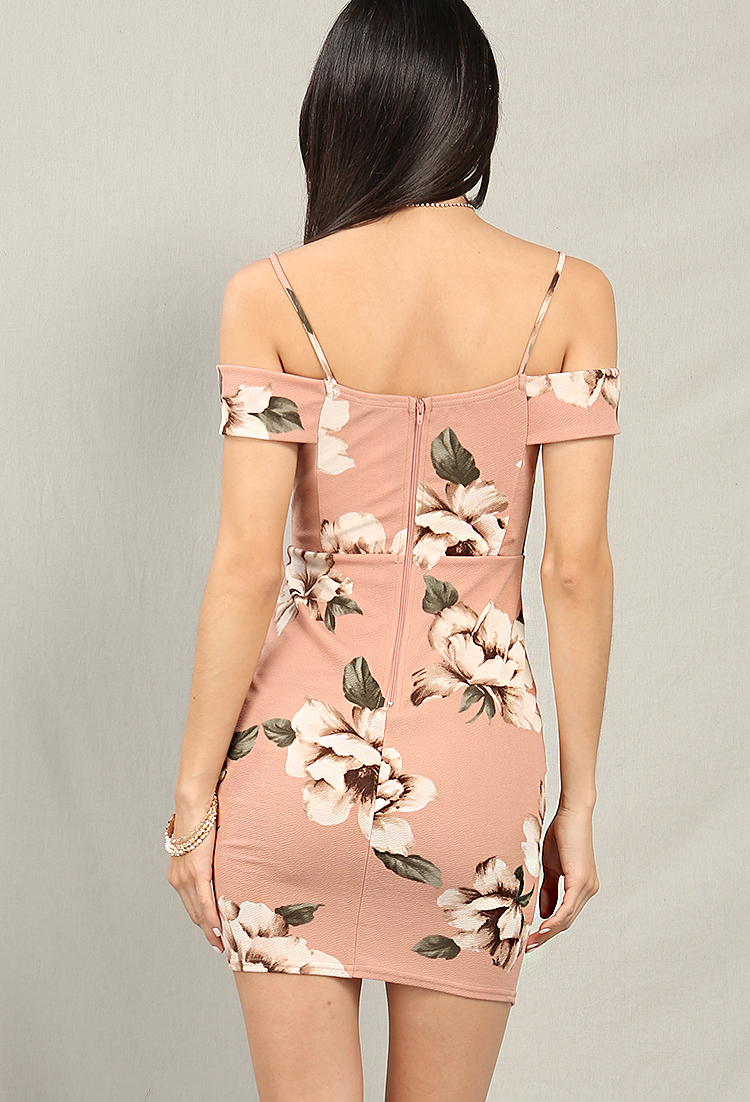 Plunging Asymmetrical Floral Print Dress