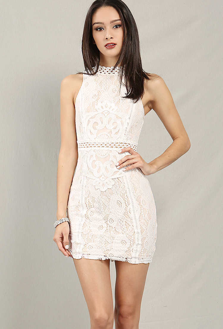 948e4fce9a4 Crochet-Trimmed High Neck Lace Overlay Bodycon Dress