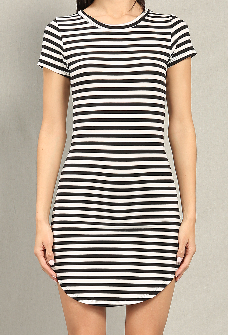 Stripe Curved Hem T Shirt Dress Shop Dressy Outfits At Papaya Clothing