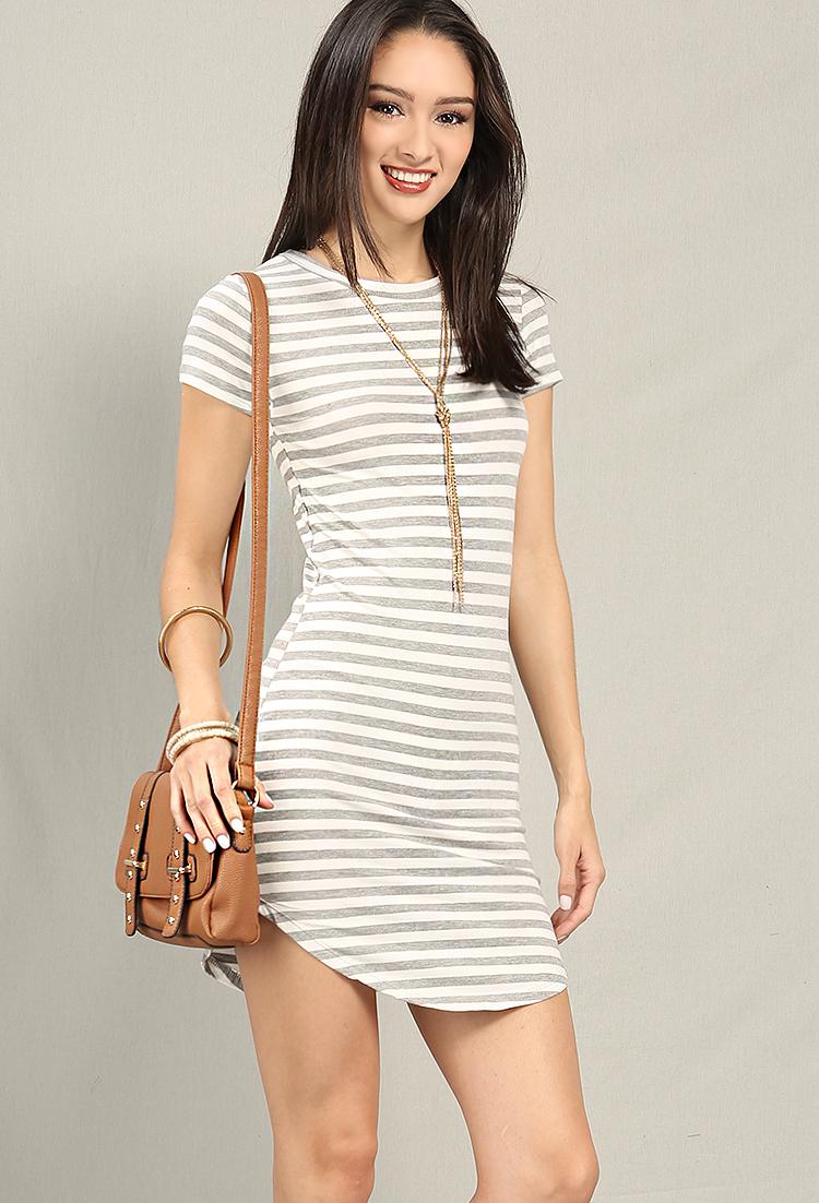 7f2c67e06fb Stripe Curved-Hem T-Shirt Dress ...