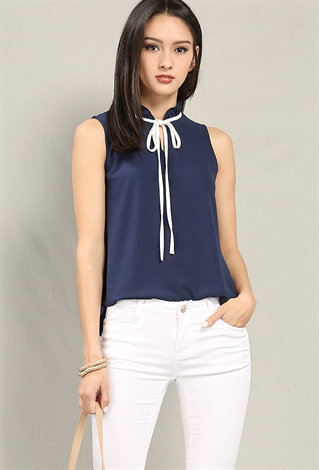 Ruffled Contrast Tie-Neck Top