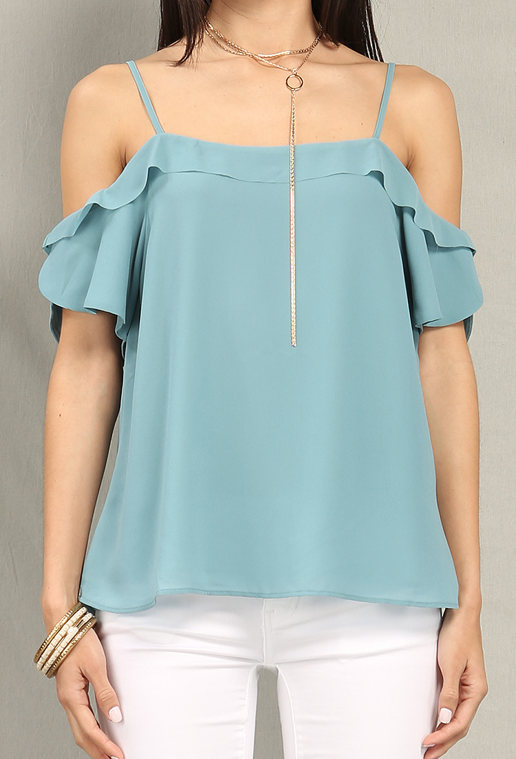 Ruffled Open-Shoulder Chiffon Top