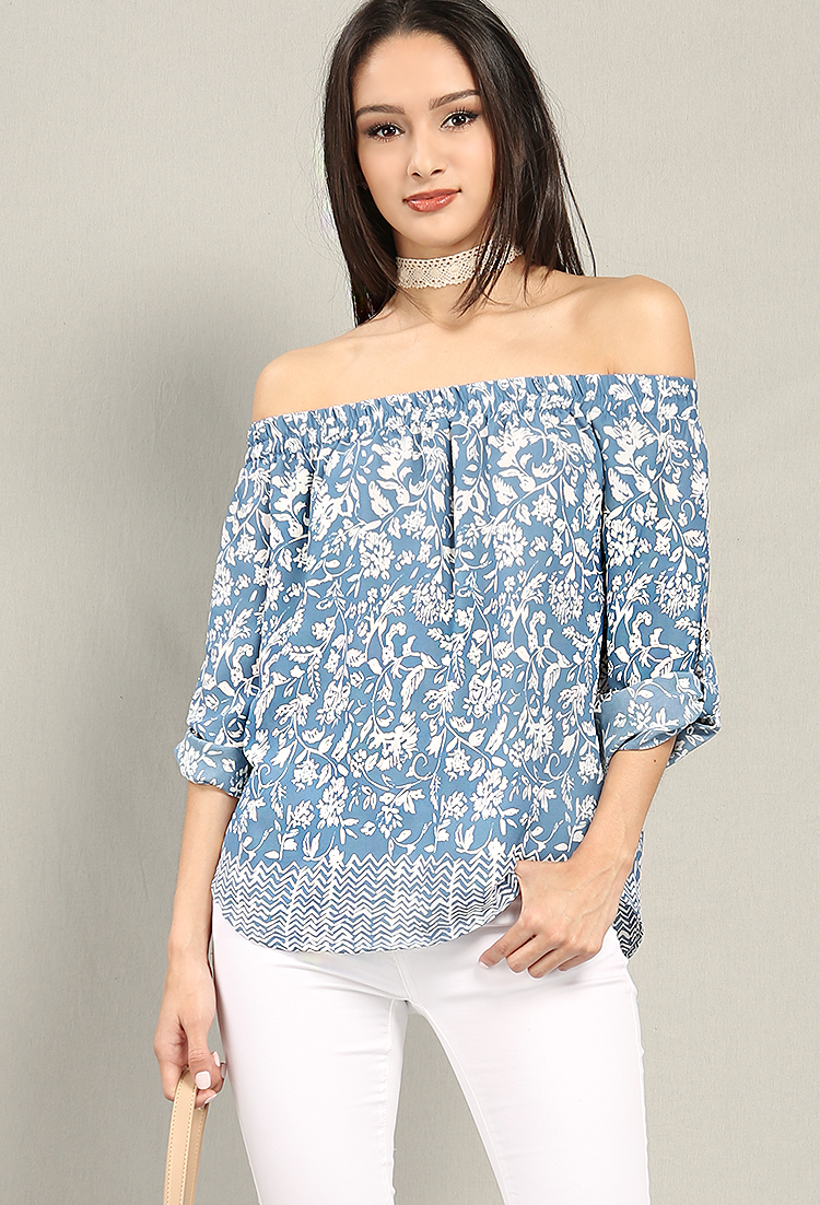 Abstract Floral Print Off-The-Shoulder Top