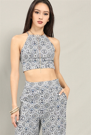 Ornate Print Crop Top