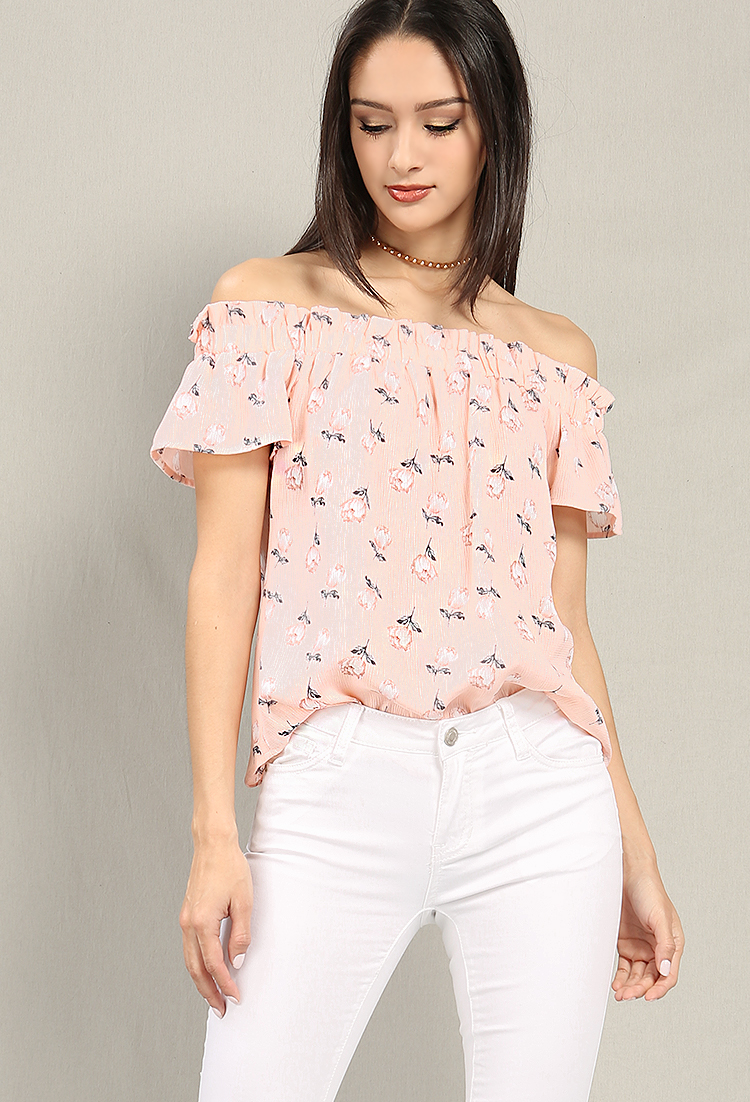 Floral Print Off-The-Shoulder Top