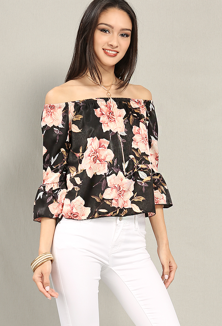 7c1f1bb919f Satin Floral Print Bell-Sleeve Off-The-Shoulder Top | Shop Old Tee & Knit  Tops at Papaya Clothing