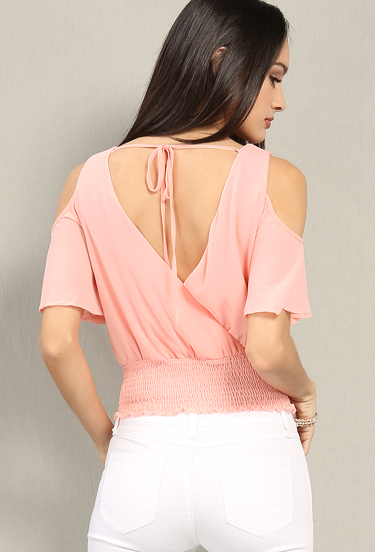 Smocked Crisscross-Front Open-Shoulder Chiffon Top