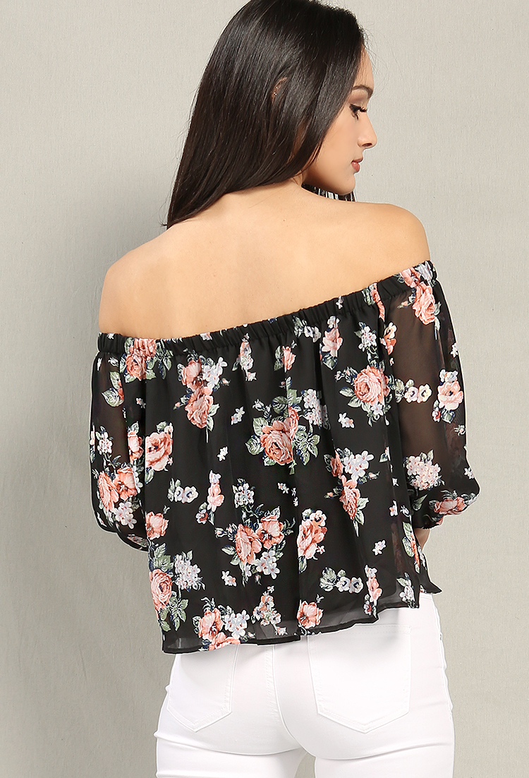 Floral Print Off-The-Shoulder Chiffon Top