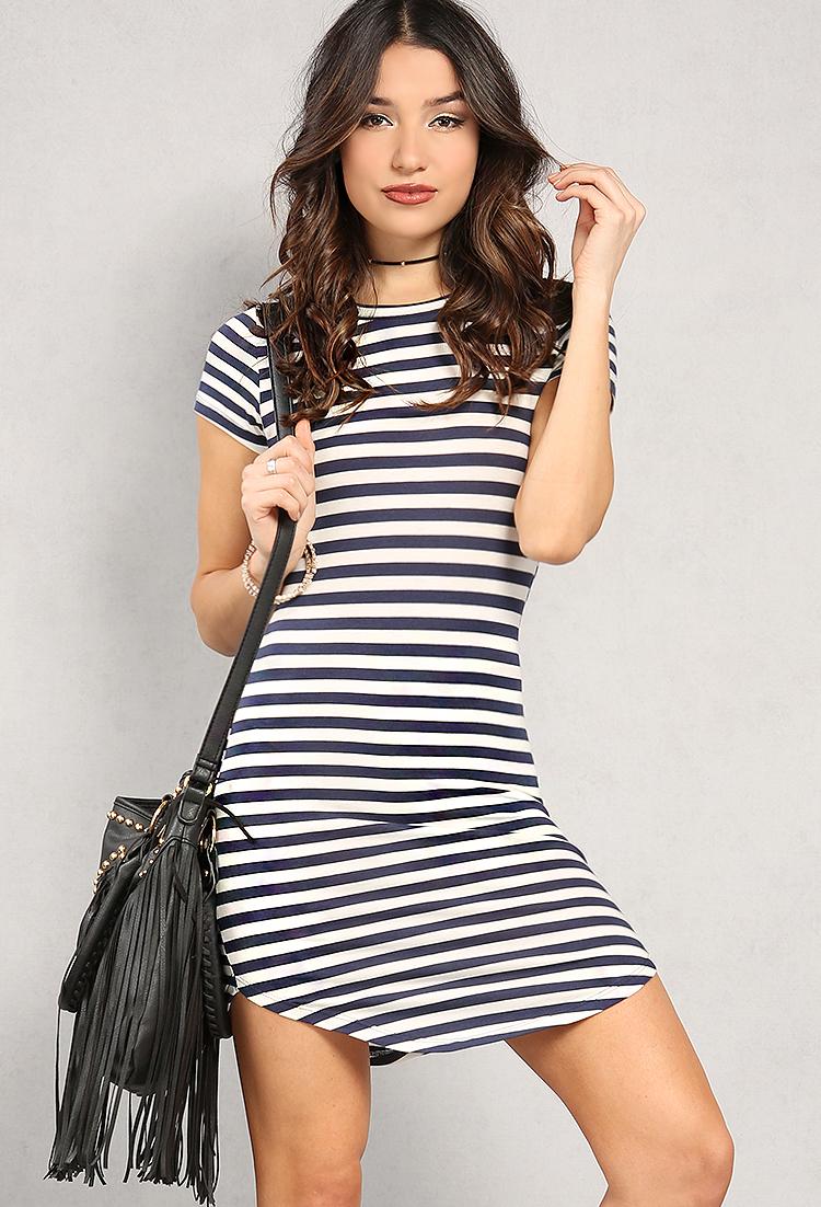 f89fae2596d Stripe Curved-Hem T-Shirt Dress