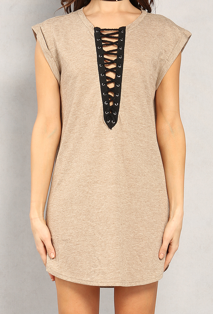 Heathered Lace-Up Longline Top