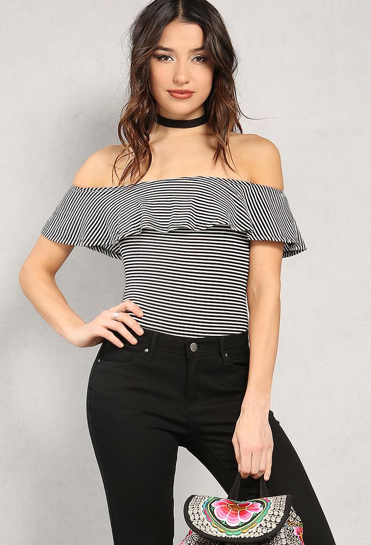 Stripe Off Shoulder Bodysuit  d1412174c