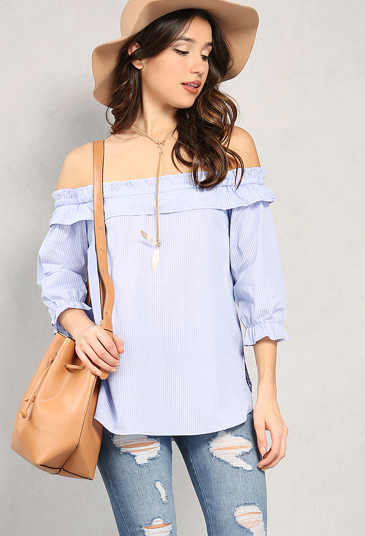 Ruffled Stripe Off-The-Shoulder Top