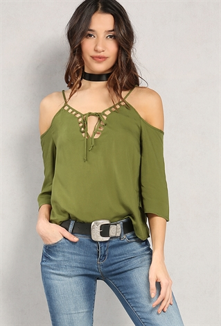 Caged Self-Tie Open-Shoulder Top