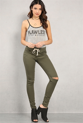 Ripped Cotton-Blend Drawstring Pants