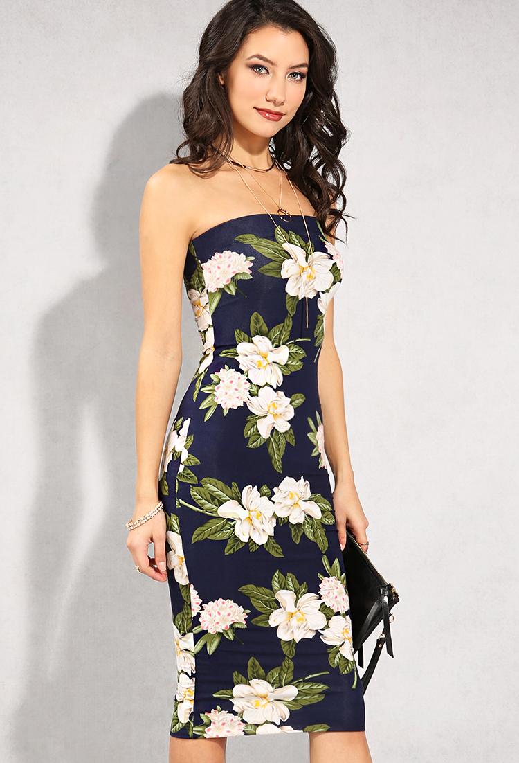2aa3603e7d ... Floral Print Tube Top Midi Dress ...