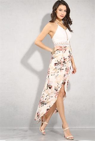 Crochet Floral Print High Low Dress Shop Old Maxi Dresses At