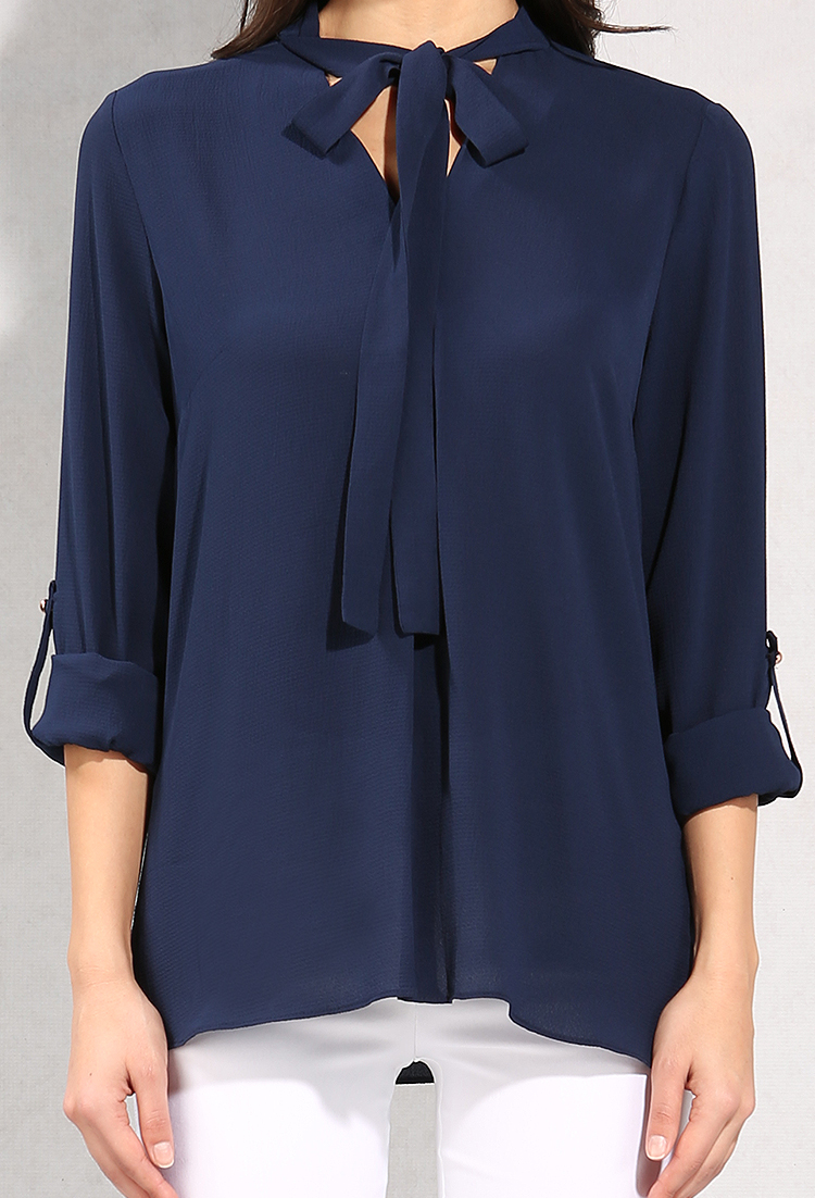 Tie-Neck Chiffon Blouse | Shop New And Now at Papaya Clothing