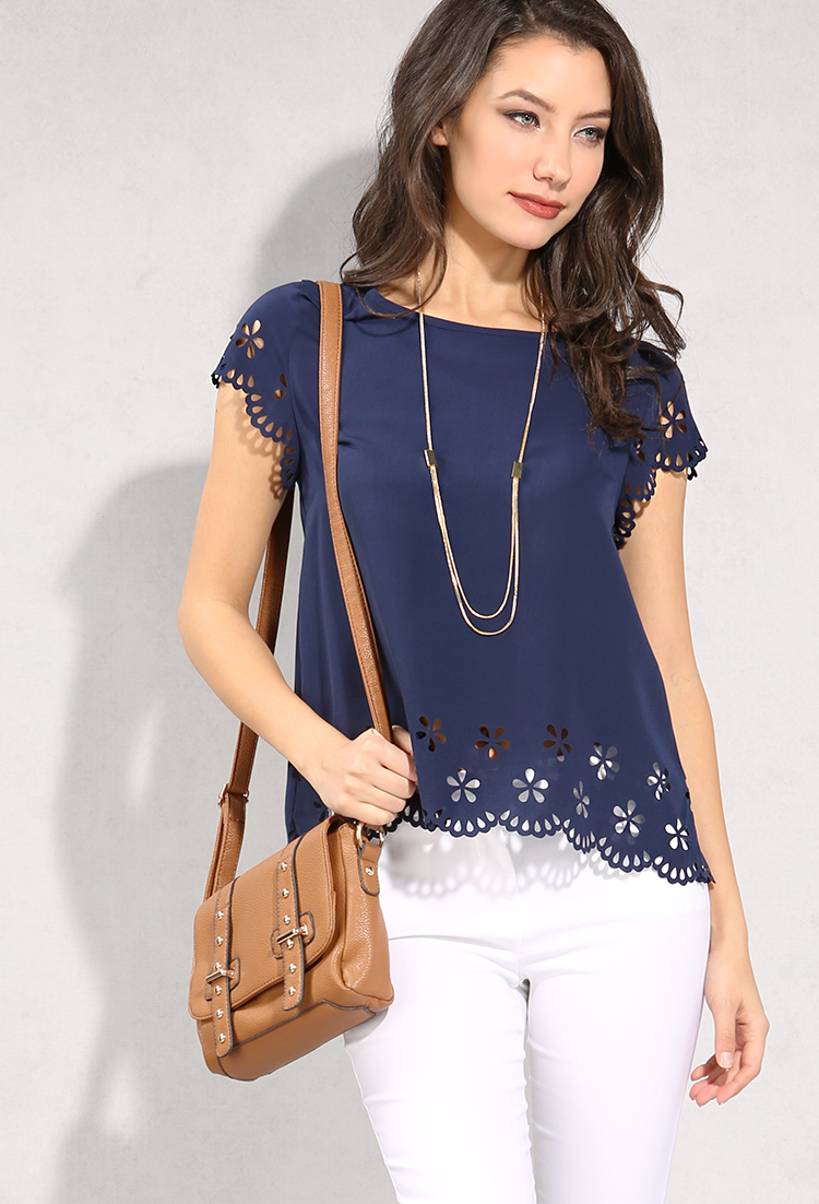 Floral Cutout Trimmed Top