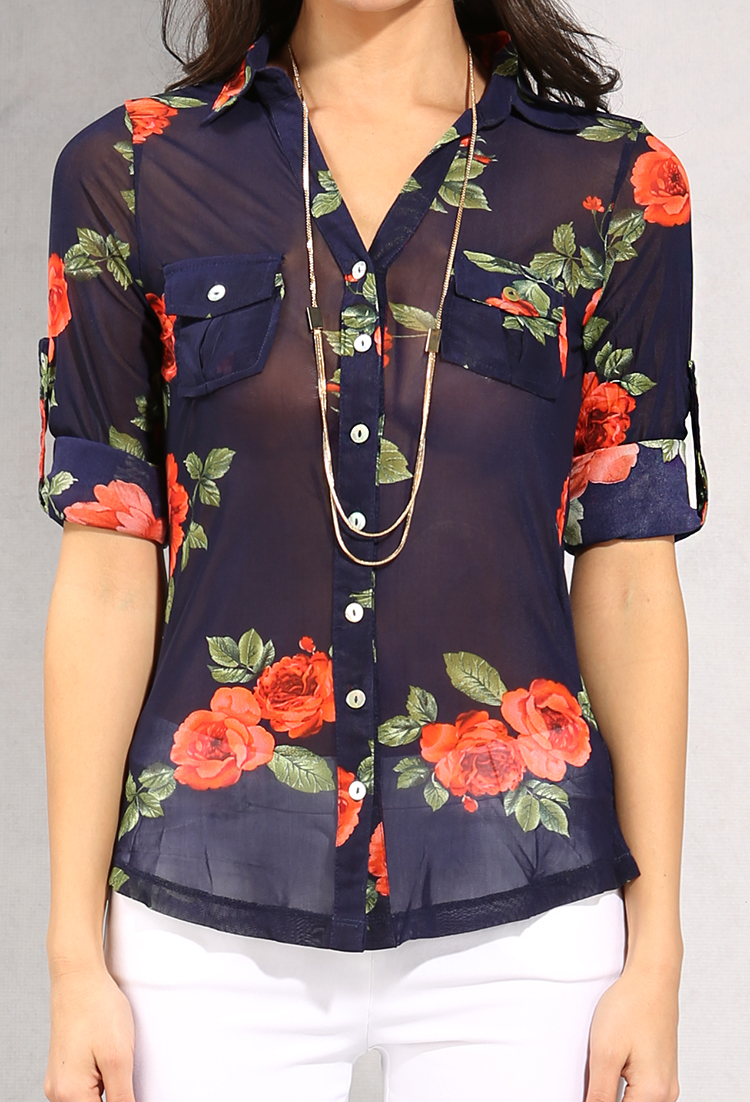 0ff269fb297 Semi-Sheer Rose Print Button-Up Blouse