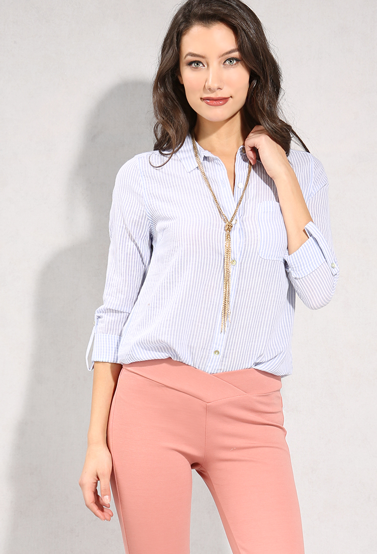 Striped Cotton Button Up Blouse Shop Blouse Shirts At