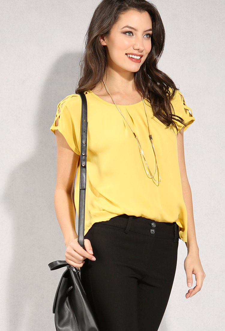 Crisscross Shoulder Detail Chiffon Top