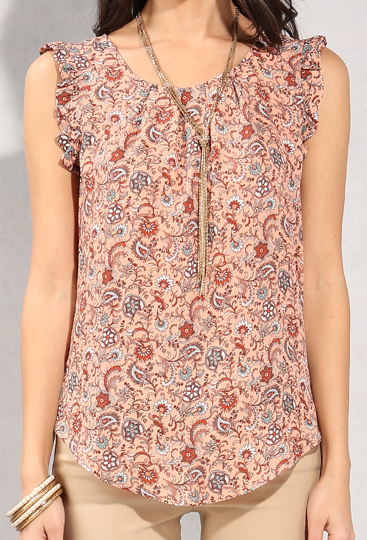 Ruffle Cap-Sleeved Floral Paisley Print Top