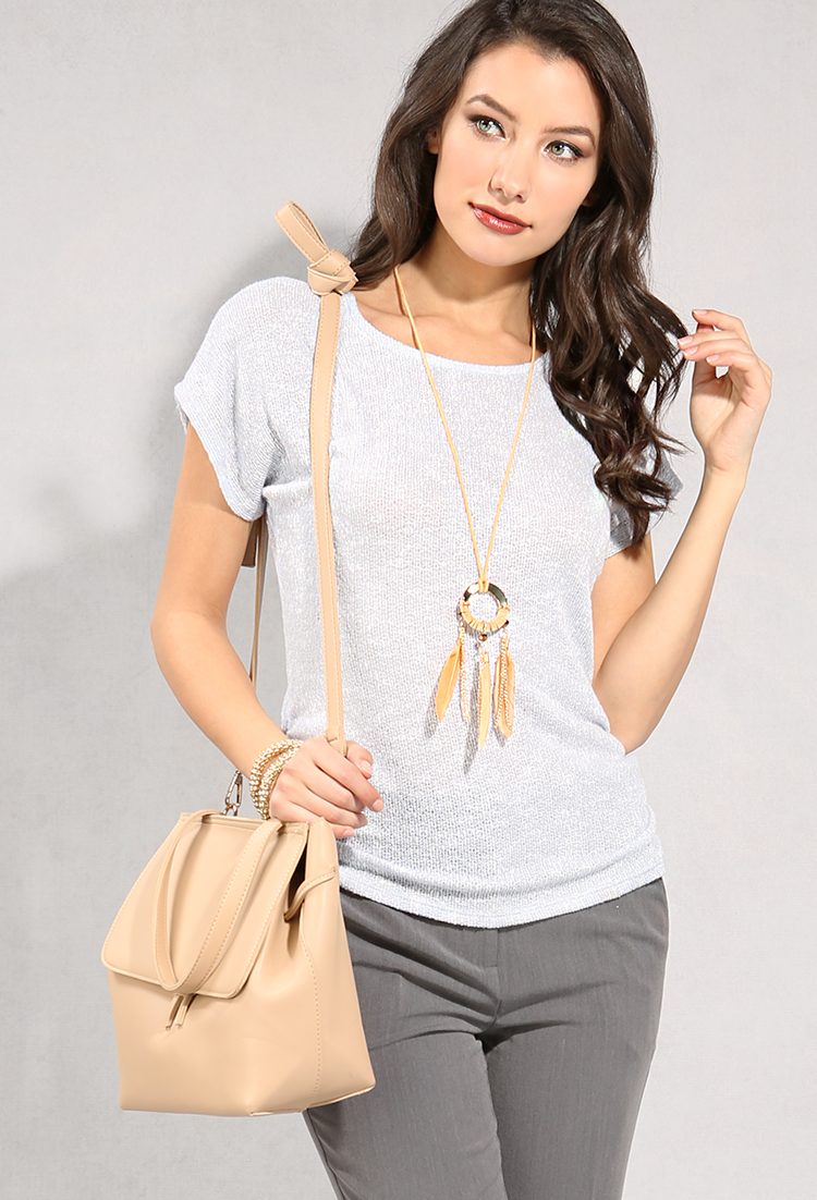 Heathered Open Knit Top W Necklace Shop Old Tops At Papaya Clothing
