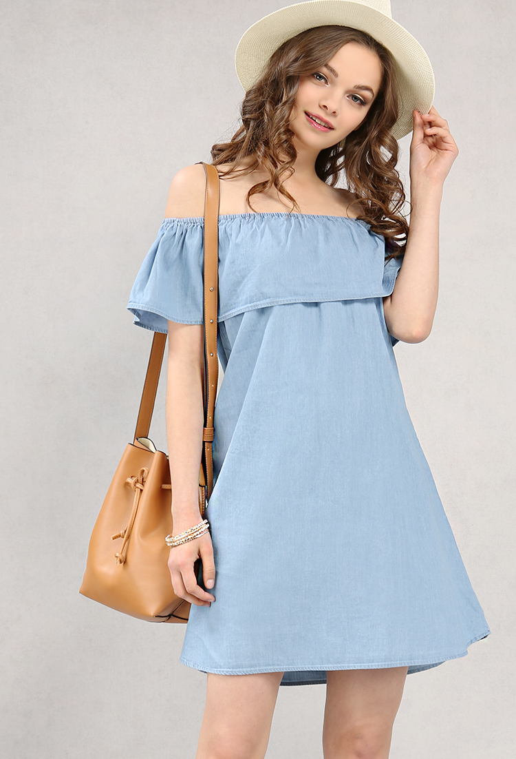 8fc24729f245 Chambray Off-The-Shoulder Flounce Dress