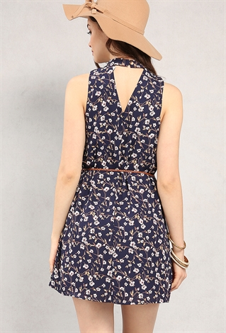 belted floral print cutout dress shop day dresses at