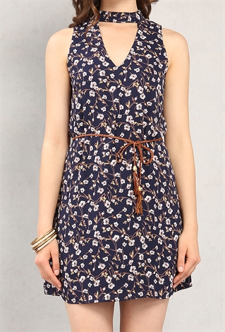 belted floral print cutout dress shop new and now at