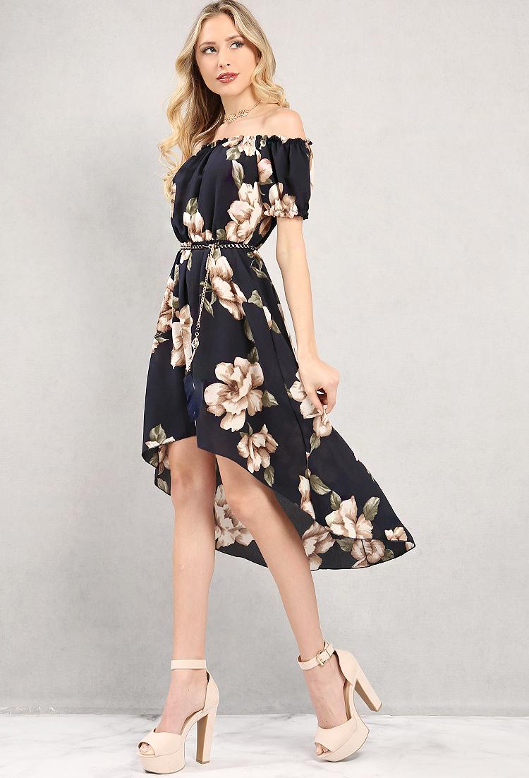 Belted High-Low Floral Off-The-Shoulder Dress   Shop Old ...
