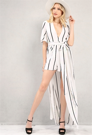 Plunging Stripe Maxi Short Romper | Shop Dresses At Papaya ...