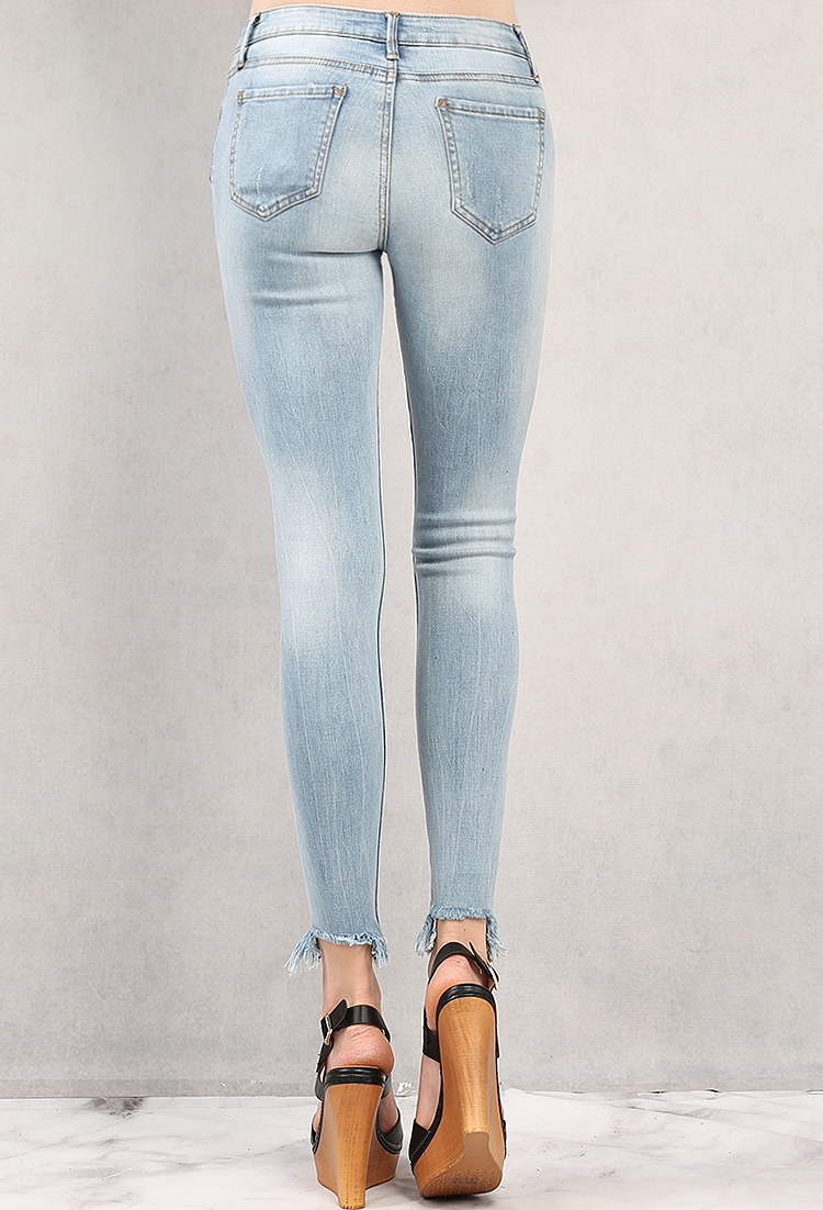 Distressed Mid-Rise Raw-Hem Jeans