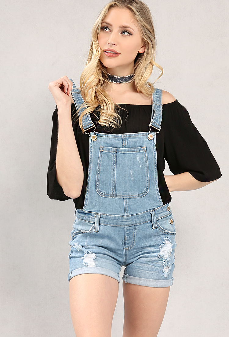 Distressed Denim Overall Shorts | Shop New And Now at Papaya Clothing