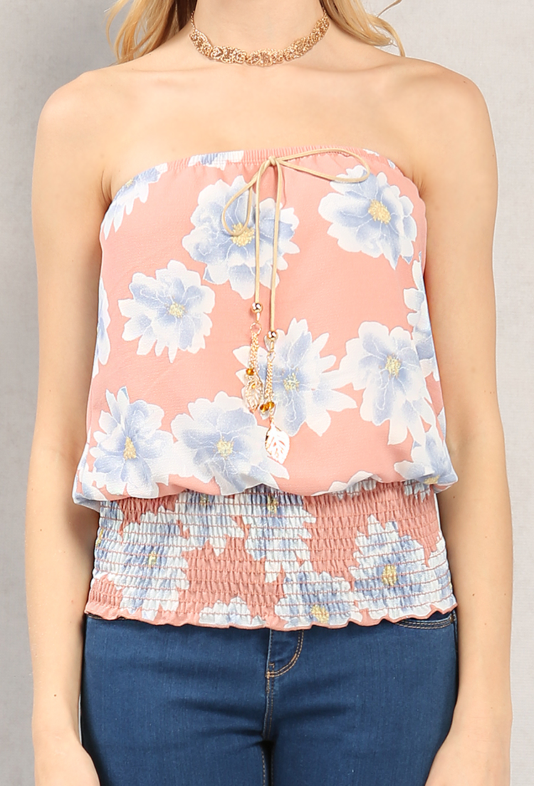Smocked Floral Print Tube Top