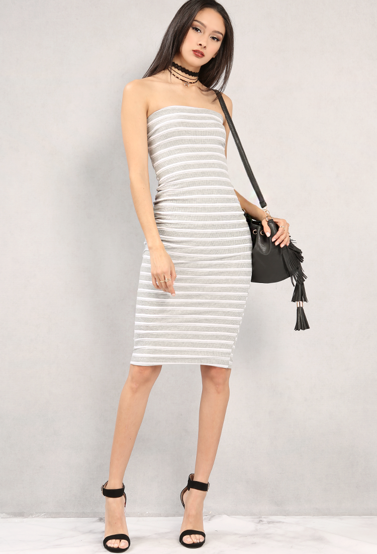 56d1310e6f5c Ribbed Stripe Tube Top Bodycon Midi Dress