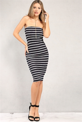 8b7c15648e7e Ribbed Stripe Tube Top Bodycon Midi Dress ...
