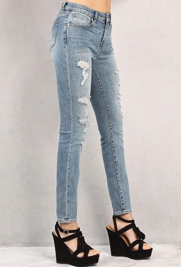 Distressed High-Rise Skinny Jeans