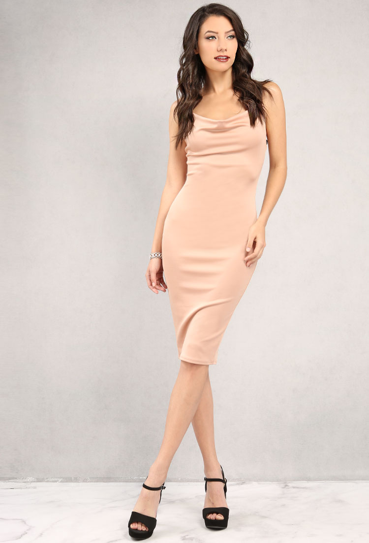 Cowl Neck Midi Bodycon Dress Shop Old Dresses At Papaya