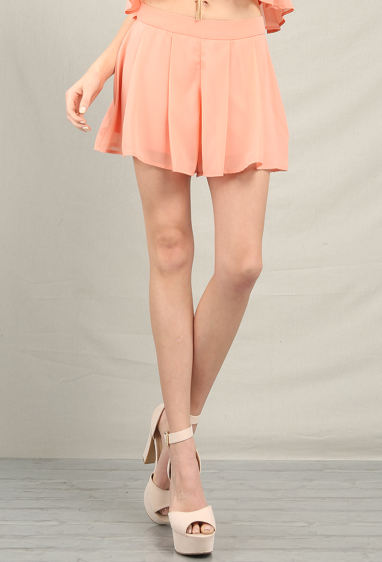 Pleated Chiffon Layered Shorts