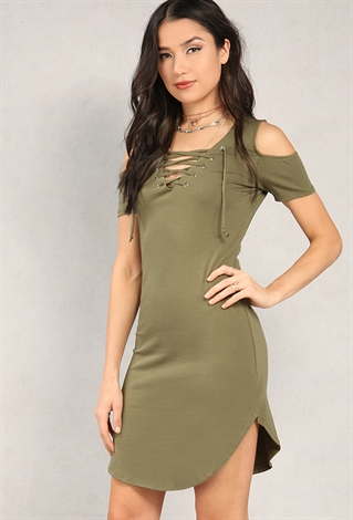 Lace-Up Cold-Shoulder Shift Dress is rated out of 5 by Rated 2 out of 5 by Cherrychick from Great idea bad execution This dress looks like a mom dress. Too long too loose for a shift dress.