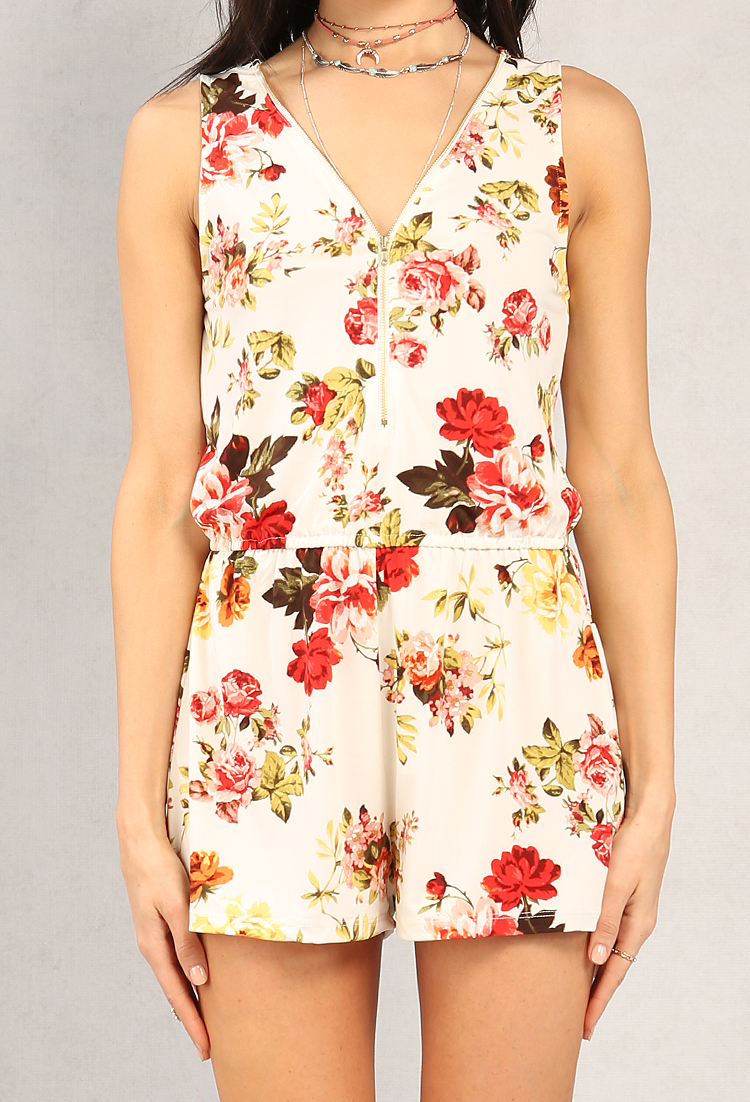 Zippered Floral Print Romper