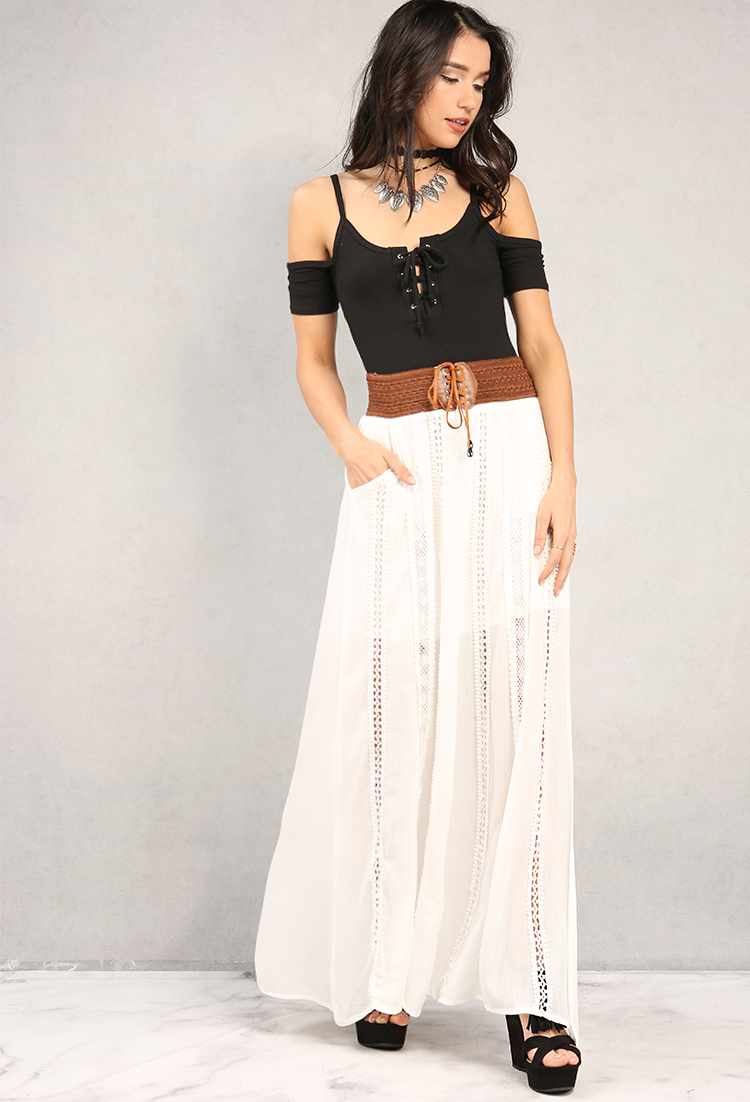 48753ae049 Crochet-Paneled Lace-Up Belt Detail Maxi Skirt | Shop Maxi Skirts at ...