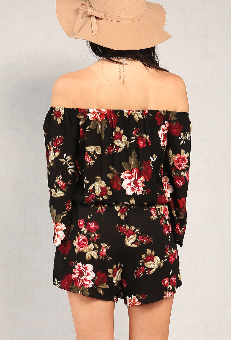 Floral Print Off-The-Shoulder Romper
