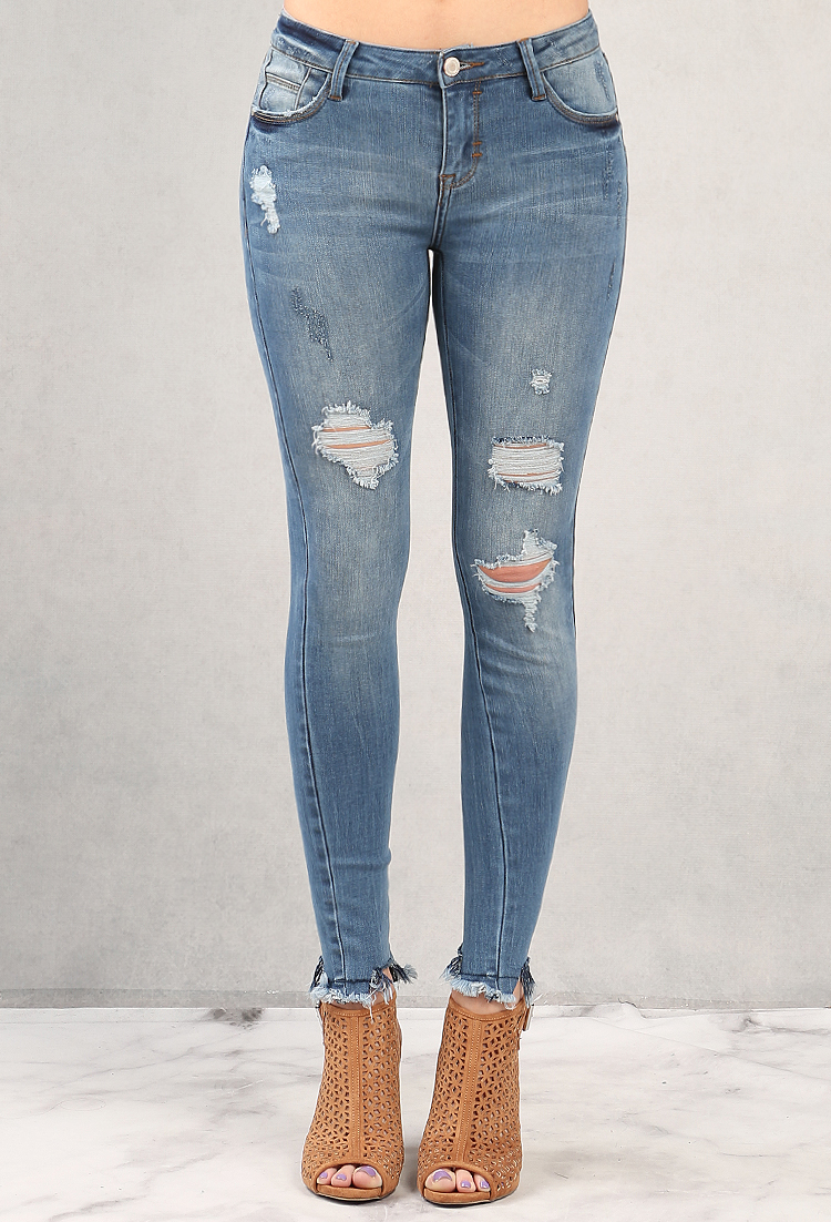 Kylie Frayed Distressed Mid Rise Skinny Jeans Shop Old Bottoms At Papaya Clothing